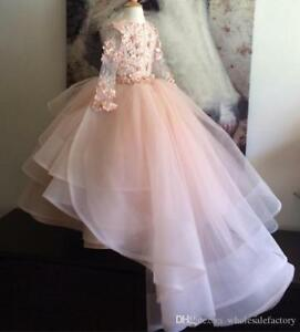 bbb5d3631f5 Image is loading Layered-Ruffles-Kids-Formal-Wear-Gowns-Pageant-Blush-