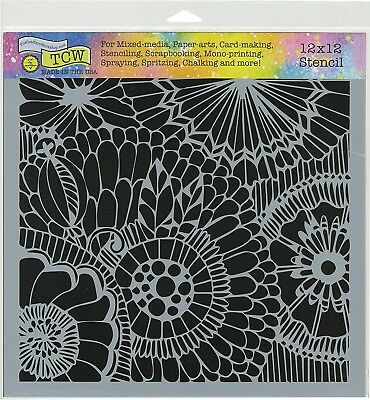 Connected Dots Design 12x12 Paper Crafting Stencil Art Layering Screen TCW773