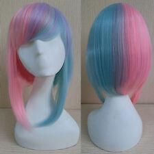 Harajuku Anime Wig Short Straight Bob Hair Cosplay Costume Pink Green Ombre Wig