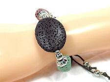 Bracelet Wristband Volcanic Rock Lava Surfer Beads Braided Cord 20cm Adjustable