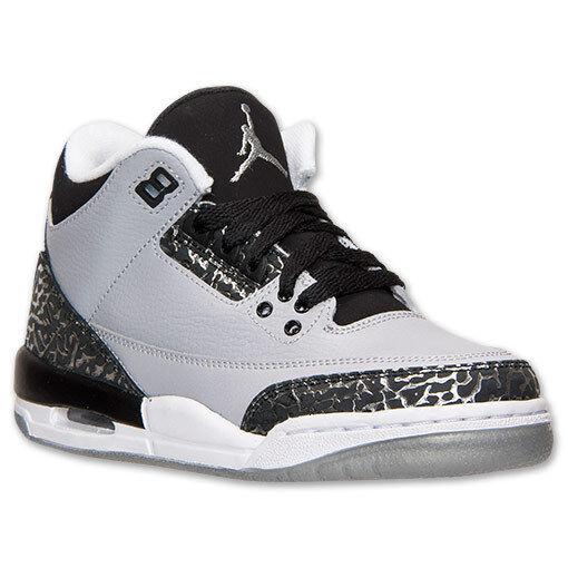 on sale c2e06 d4176 BRAND NEW Nike Air Jordan GS Retro 3 Wolf Grey Silver 398614-004 BOYS SIZE