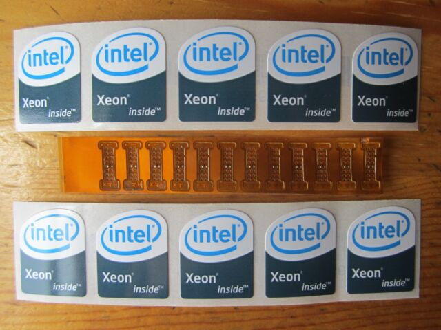 Lot of 6 LGA 771 to 775 adapters for Xeon Mod and 5 'Intel Xeon Inside' stickers