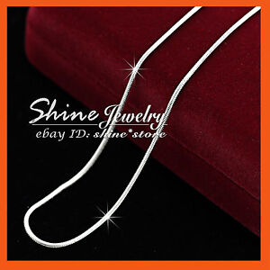 18K-WHITE-GOLD-FILLED-SILVER-SNAKE-CHAIN-for-pendant-LADY-SOLID-NECKLACE-45CM