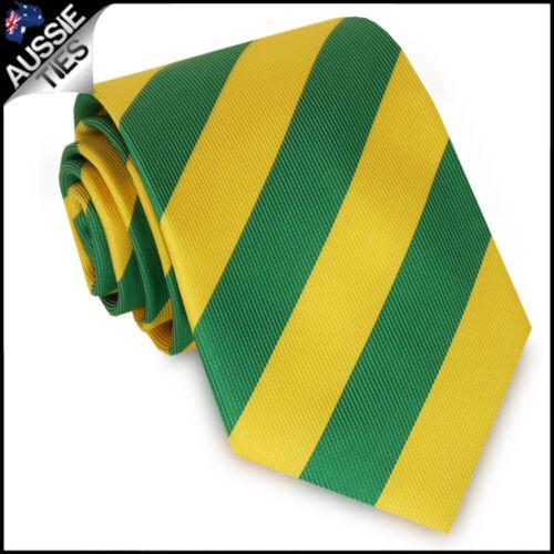 MENS GREEN /& YELLOW STRIPE TIE stripes striped men/'s gold Australian colours