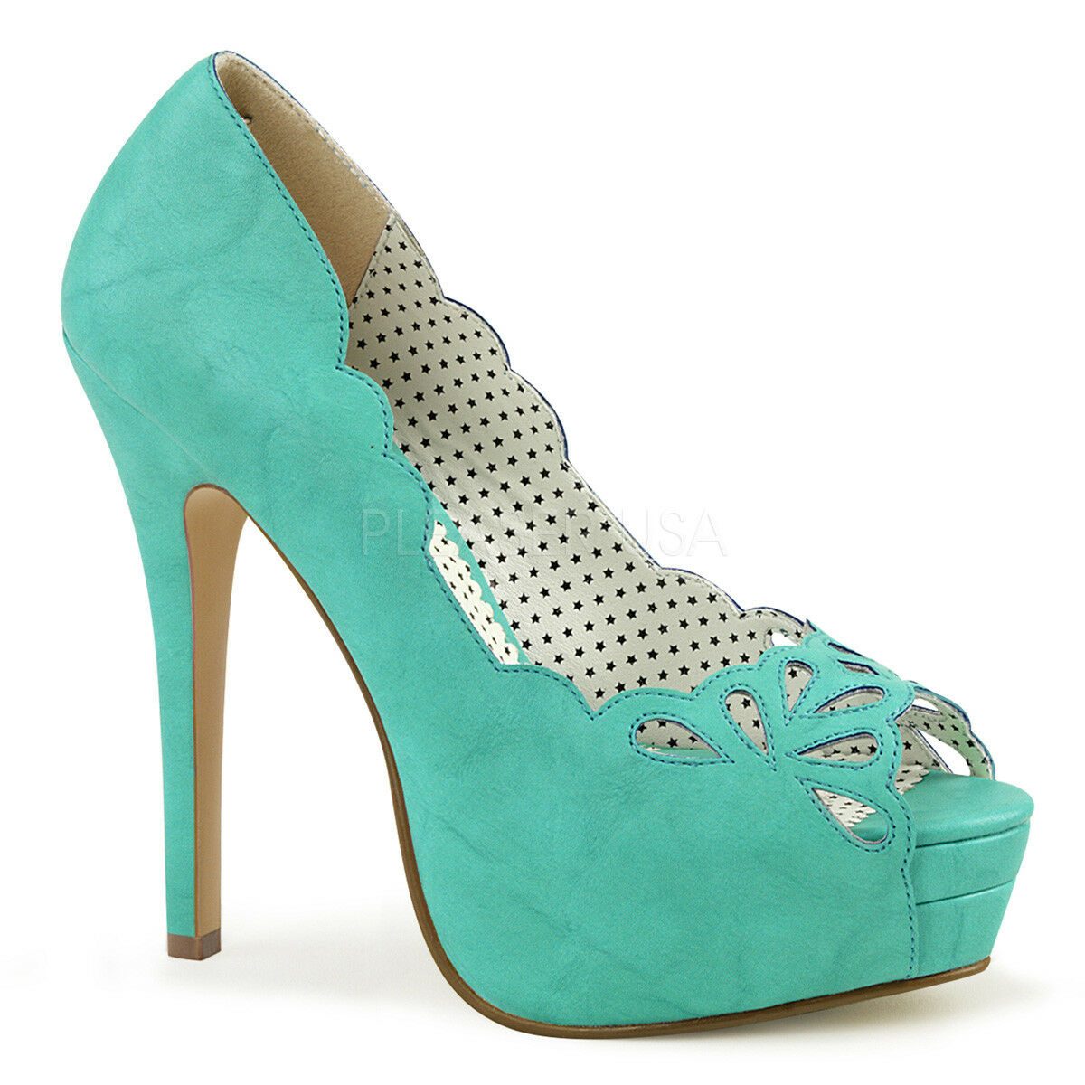 Pin Up Couture BELLA-30 Womens Womens Womens Teal Faux Leather Platform Peep Toe Pump Cut-Out b5afb6