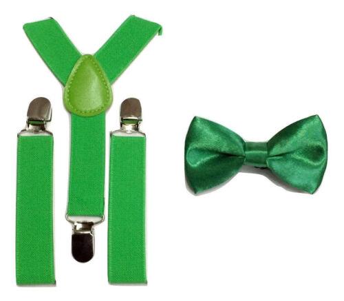 Children Boys Girls Clip-on Bow Tie  Suspender Set Elastic Adjustable UK