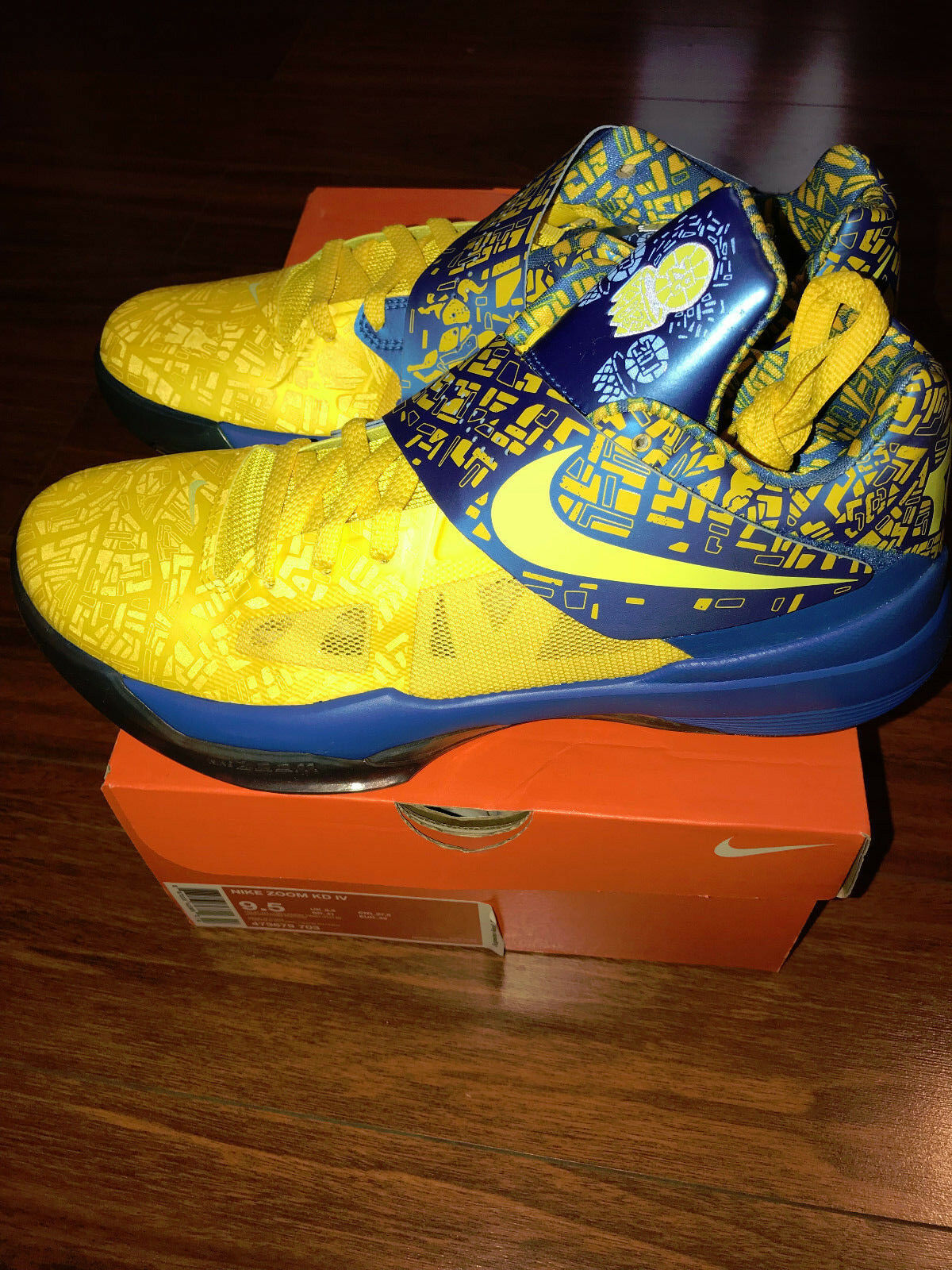 DS KD IV 4 KEVIN DURANT SCORING TITLE 473679-703 sz 9.5   yellow blue warrior