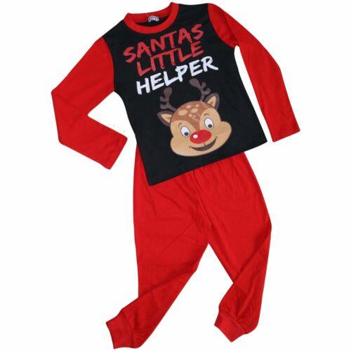 Bambine Ragazzi Pigiama Piccolo Babbo Natale Aiutante Renna Contrasto Maniche