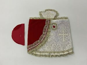 Vintage-Infant-of-Prague-10-1-2-034-Dress-with-Lace-Brocade-Red-Velvet-1-Pc
