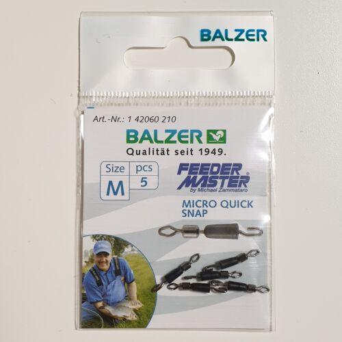 XS S M 5 Stück Micro Swivel NEW OVP Balzer Feeder Micro Wirbel mit Verschluß Gr