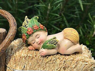 Miniature Dollhouse FAIRY GARDEN Sleeping Baby In Cauldron