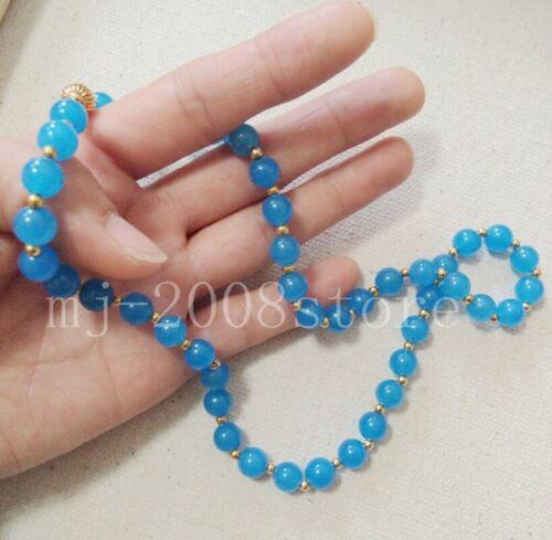"Long 16/"" 18/"" 20/"" Charmant 8 mm bleu clair Jade Ronde Pierres Précieuses Perles Collier AAA"