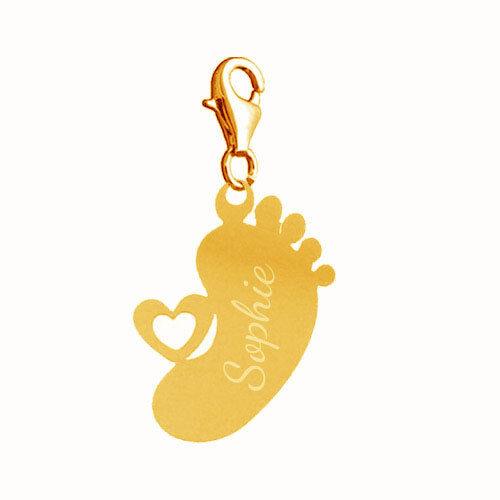 grabado-nuevo incl 925er plata o Rosé dorado Charm remolque Baby pies