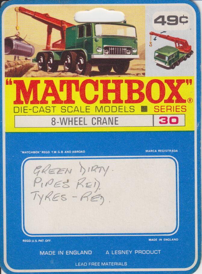MATCHBOX 30 C 8 Wheel crane RARE canadische étui. inutilisé