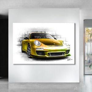 Leinwand-Bild Automobil Dekoration Porsche RSR  Wandbild Kunstdruck