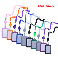 10pcs Vertical Style Leather Business Id Badge Card Holder Lanyard Neck Strap