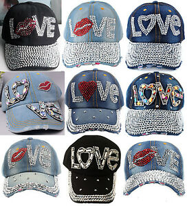 Chic Womens Rhinestone LOVE Studded Denim Hats Bling Baseball Caps ... e841803f78
