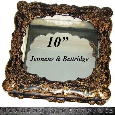"""Official Website Antique Jennens & Bettridge 10"""" Papier Mache Casket Glass Topped Vitrine Box"""
