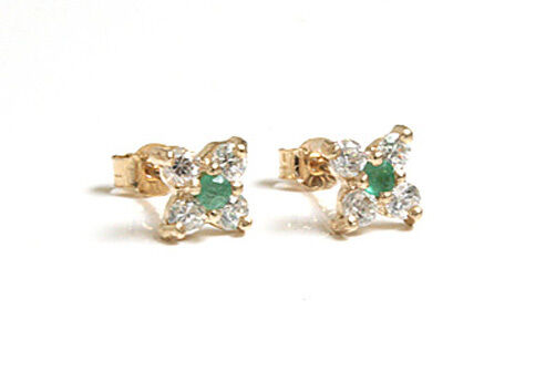 9ct Gold Emerald Cluster studs Earrings Gift Boxed Made in UK