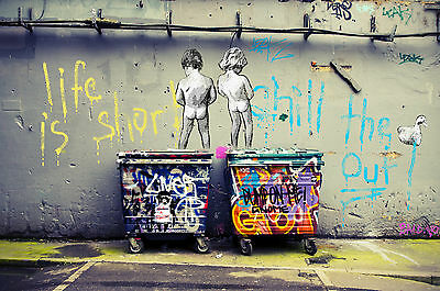 Painting Graffiti Street Art  Life Short Chill Duck Canvas  not banksy