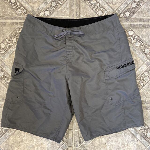 Quiksilver Swim Trunks Mens 36 Gray Board Shorts Bathing Suit Men