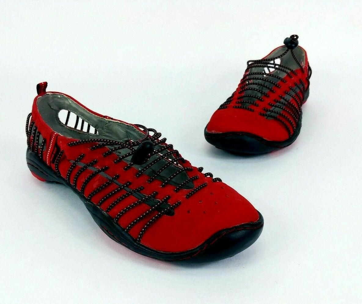 J-41 Barefoot Design Red Suede Suede Suede Bungee Active Flat Women 6 water trail shoe EUC 50e251
