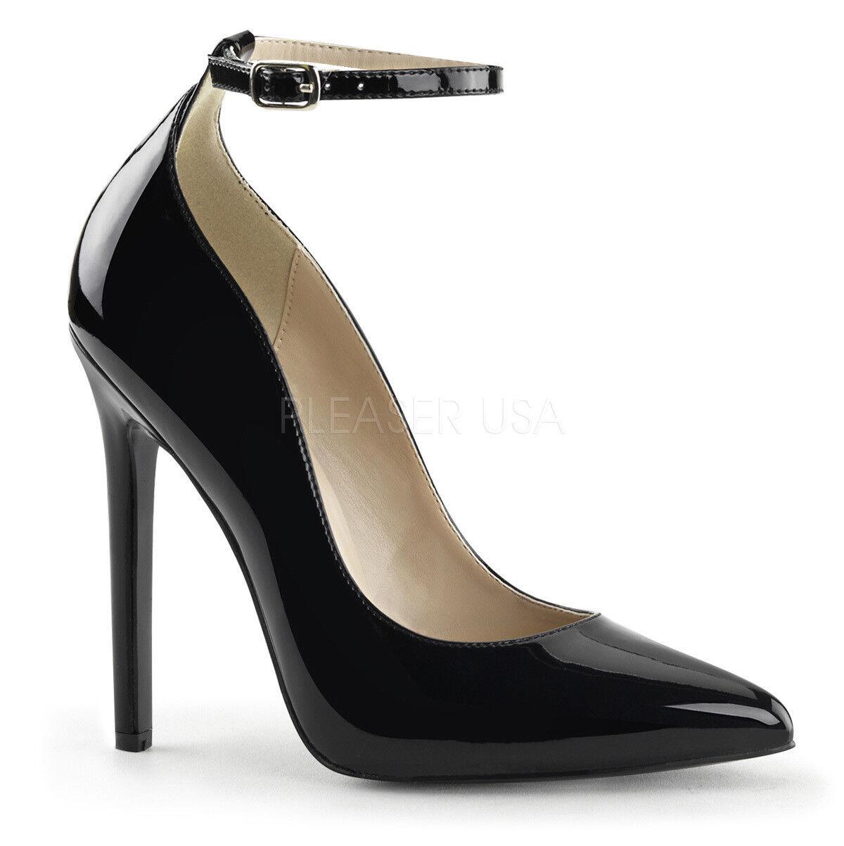 Sexy-23 elegante Pleaser Frauen High Heels Riemchenpumps schwarz Lack Gr 35-45