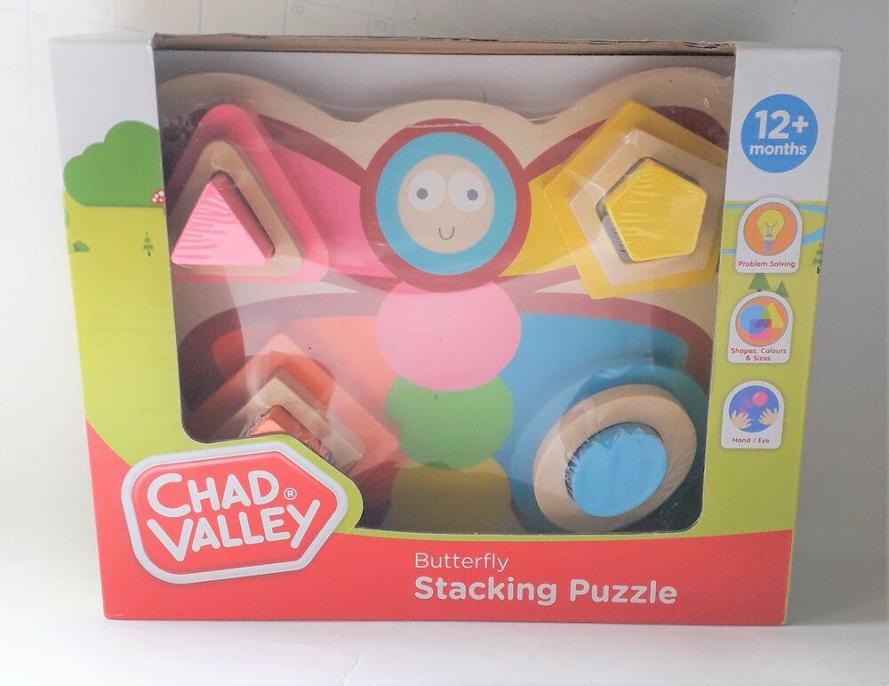 * Nouveau * Chad Valley En Bois Papillon Stacking Puzzle 12+ Mois