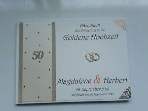 Details Zu Hardcover Gästebuchfotoalbum Goldene Hochzeit Cremeperlmuttgold Dina4