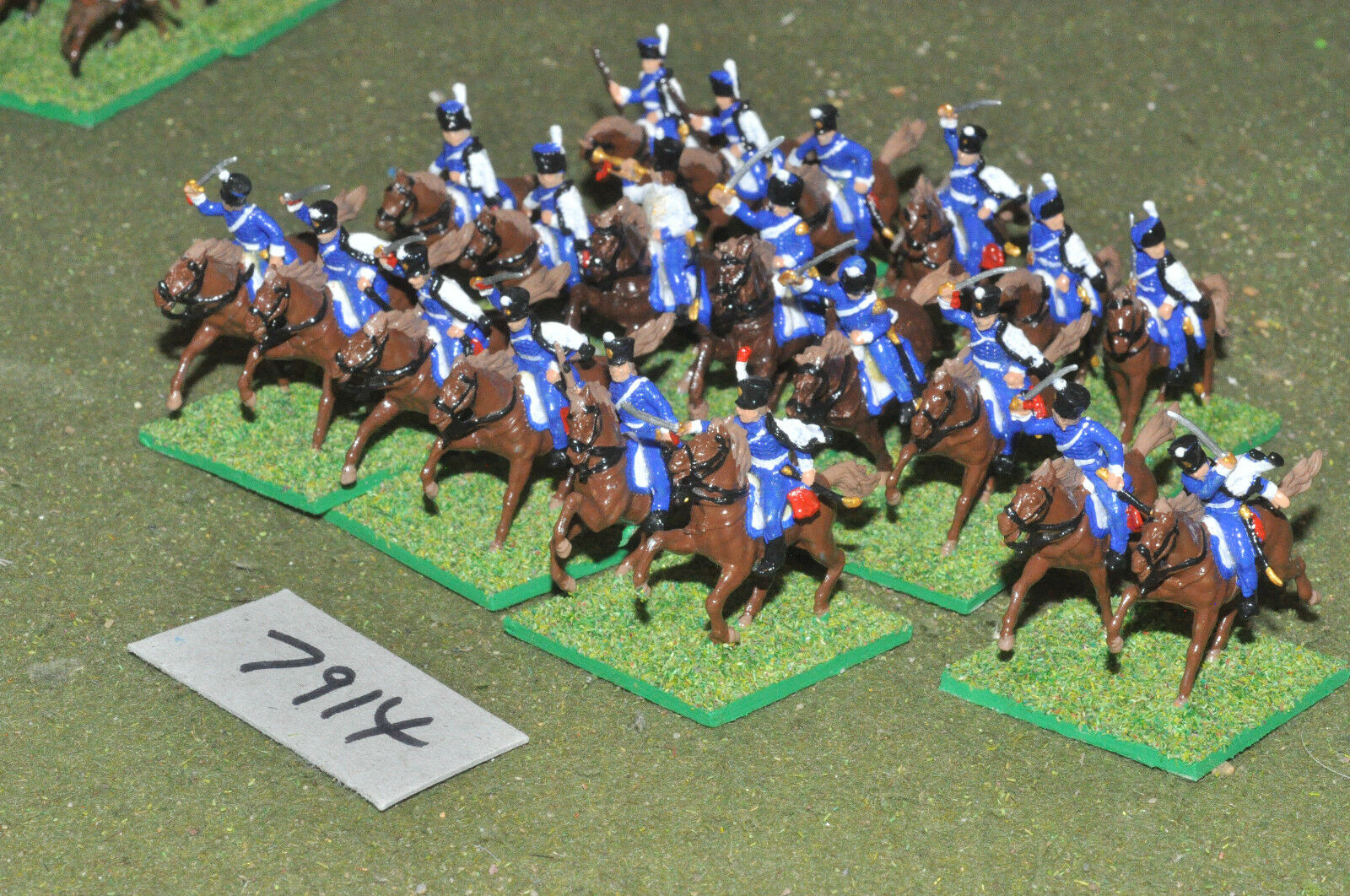 20mm napoleonic   french - hussars 20 cavalry plastic painted - cav (7914)