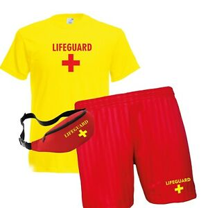 LIFEGUARD Ladies Yellow T Shirt /& Red Shorts Fancy Dress Costume Outfit Set Girl