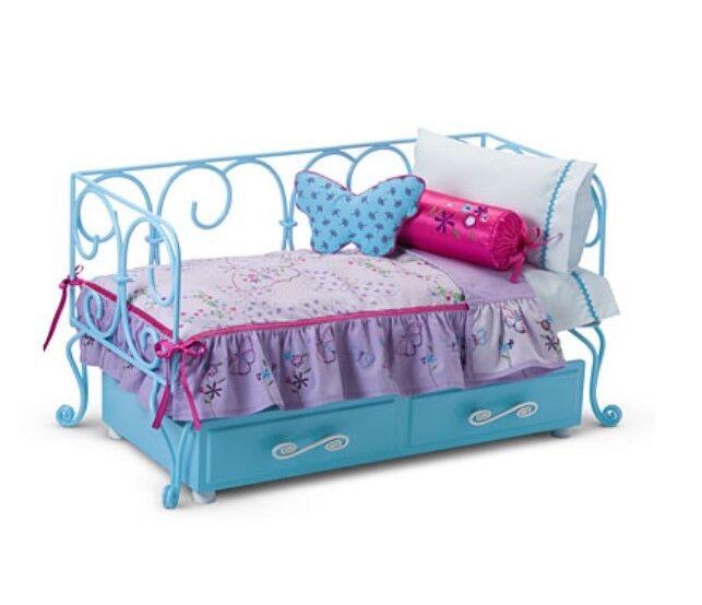 American Girl 18   Puppe Blaugrün Trundle Curlique Day Bett Bettwäsche Kissen