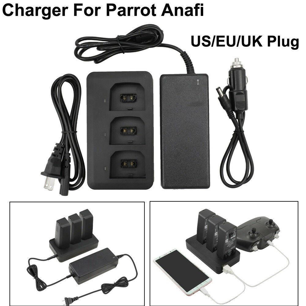 For Parred ANAFI Drone Multi-Batteries Balance Fast Charger Adapter &Car Charger
