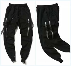 Mens Gothic Suspender Pocket Harem Pants Hip Hop Cargo Trousers Punk Sweatpants