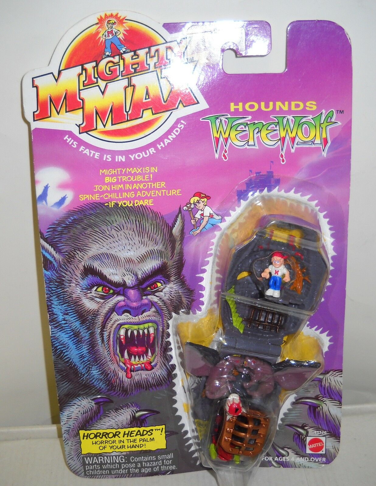3119 NRFC Vintage Mattel Might Max Horror Heads Hounds Werewolf Mini Playset