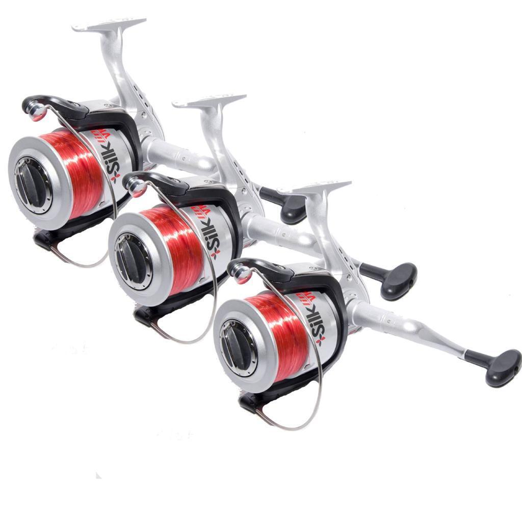 New 3 x Fixed Spool Sea Fishing Beachcaster Reels With 3BB Ball Bearings & Line