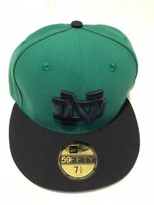 Notre Dame Fighting Irish New Era 5950 Fitted Hat Cap Green Navy ... 8b0117bab36