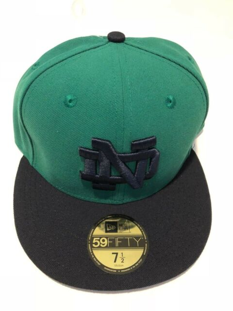 837aec68140 Notre Dame Fighting Irish New Era 5950 Fitted Hat Cap Green Navy Blue mens  7 1
