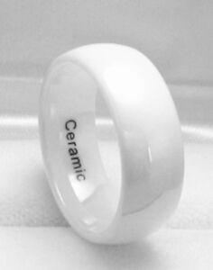 Image Is Loading Men 8mm High Tech White Ceramic Wedding Band