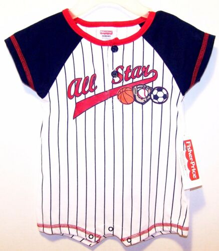 New FISHER PRICE Boy Girl Red White Navy Striped 1 Pc All Star SPORTS 0//3 3//6M