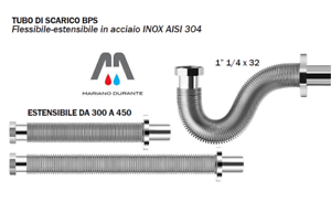 "TUBO SCARICO FLESSIBILE ESTENSIBILE ACCIAIO INOX 1""1/4X32 C/ ROSONE"