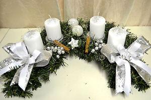 adventskranz halbmond k nstlich silber wei weihnachten. Black Bedroom Furniture Sets. Home Design Ideas