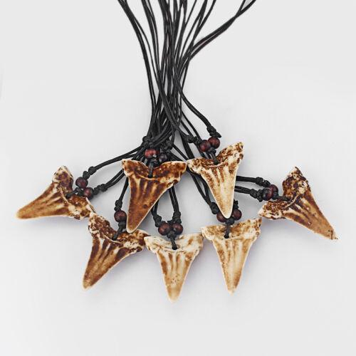 12Pcs synthétique marron Yak Bone dents requin dent Amulette Collier Pendentif Réglable