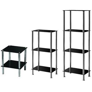 2 3 4 Tier Glass Shelf Unit Black Shelves Storage Square Modern By Home Discount
