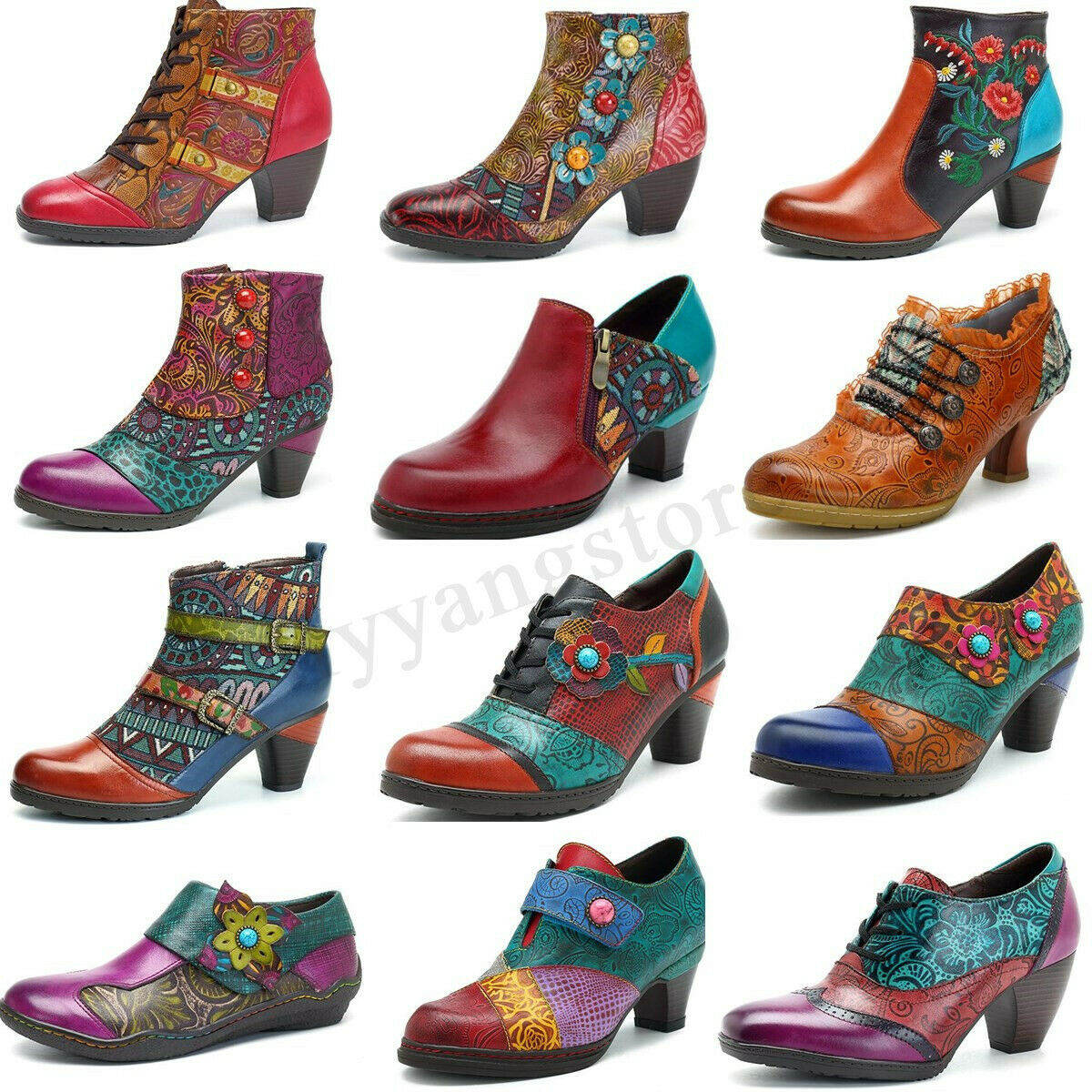 SOCOFY Women's Zipper Ankle Boots Mid Heel Leather Pumps Splicing Handmade