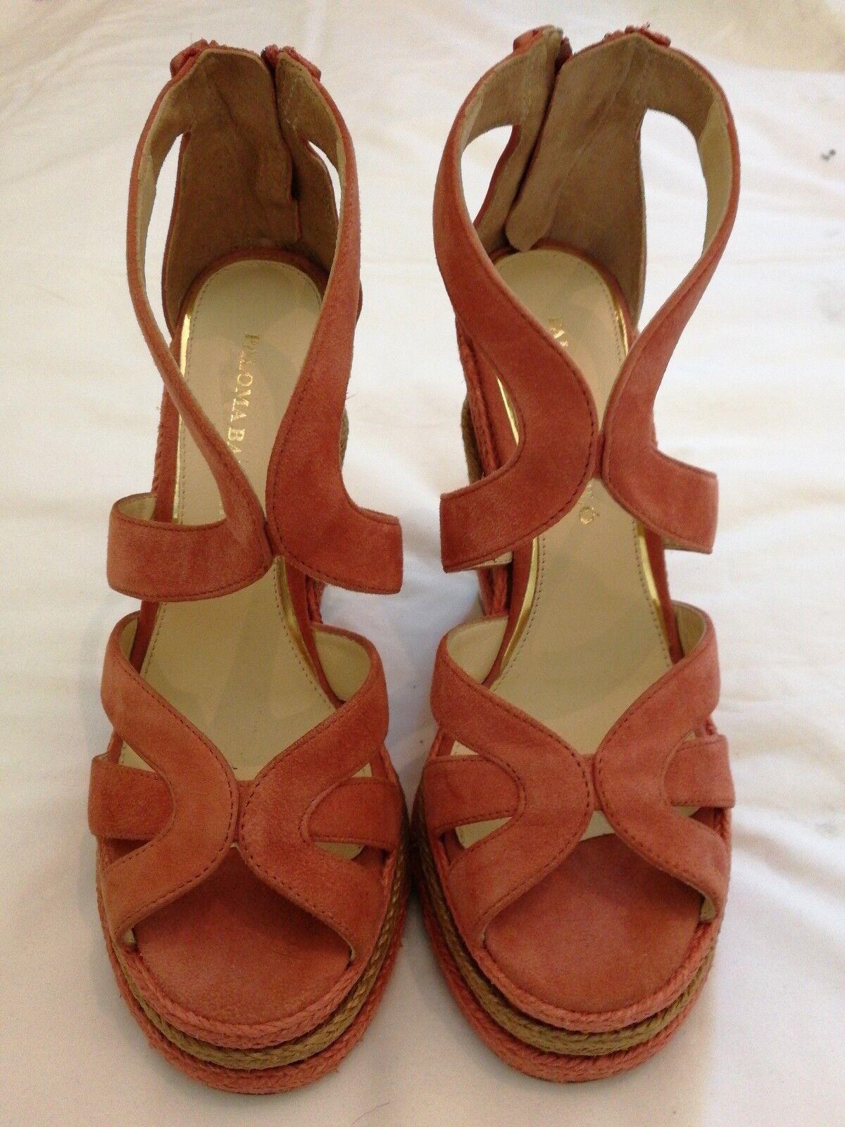 Paloma Barcelo Suede Suede Suede Wedge Heels Espadrilles Sandal Shoes Pink eu 37 e46e5e