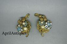 Vintage Miriam Haskell faux baroque pearl beaded blue flower filigree earrings