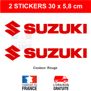 2-Stickers-Rouge-SUZUKI-Autocollants-Moto-Adhesifs-Deco-Becane-Scooter-30x5-8-cm
