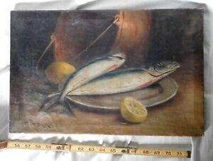 Original oil on canvas painting Arthur Diehl fish still life game pewter copper