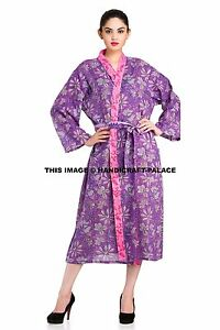 Indian-Cotton-Block-Printed-Sexy-Bath-Robe-Sleepwear-Kimono-Casual-Dress-Gown